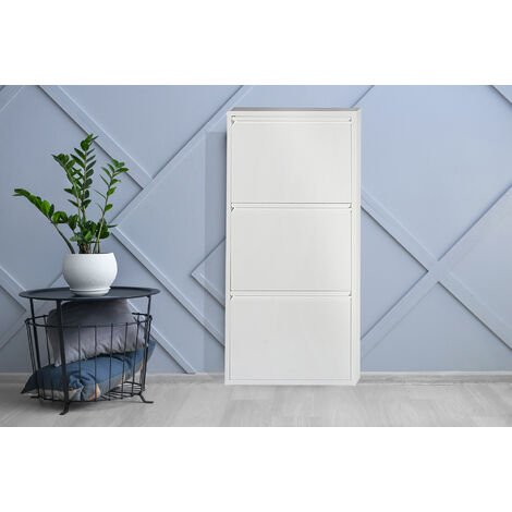 Metal shoe cabinet with three doors with flap, white colour, 50 x 103 x 15 cm.