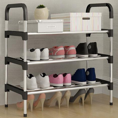 Metal Shoe Rack Slated Shoe Storage Stand Organiser Shelf Holder