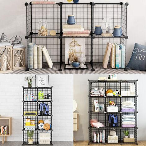 Metal Storage Cabinet Interlocking Grid Book Shelf Mesh Display Rack