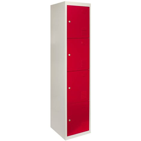 Metal Storage Lockers - Four Doors, Flatpacked, Red