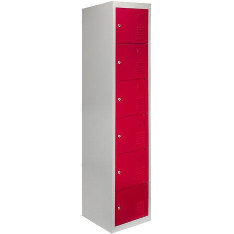 Metal Storage Lockers - Six Doors, Flatpacked, Red