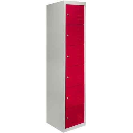 Metal Storage Lockers - Six Doors, Red