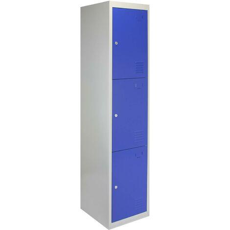 Metal Storage Lockers - Three Doors, Flatpacked, Blue