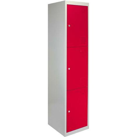 Metal Storage Lockers - Three Doors, Flatpacked, Red