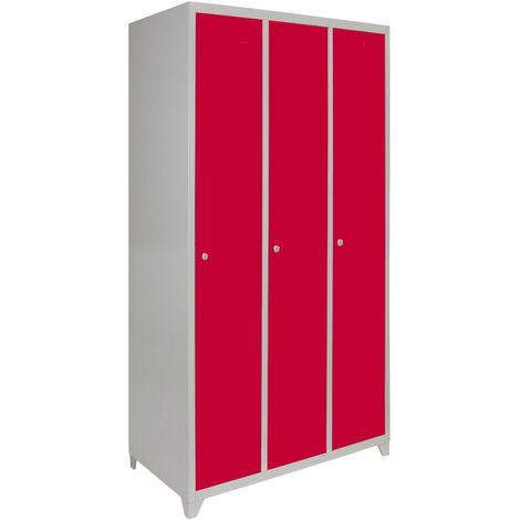 """main image of """"Metal Storage Lockers - Three Doors Wide, Red"""""""