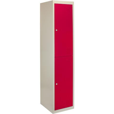 Metal Storage Lockers - Two Doors, Red