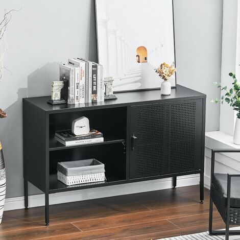 """main image of """"Metal Storage Sideboard Cabinet TV Stand Buffet High Legs Cupboard Home Office, Black"""""""