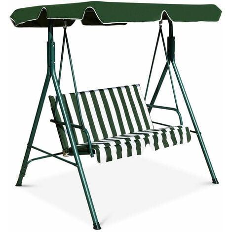 Metal Swing Chair Garden Hammock 2 Seater Patio Bench Lounger Adjustable Canopy
