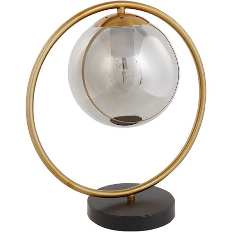 Metal Table Lamp Gold Glass Shade Bedside Table Living Room Bedroom Quibo