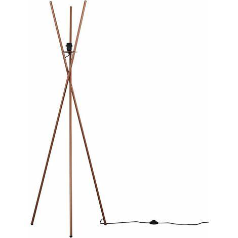 Metal Tripod Floor Lamp Light Base Copper Chrome Grey - Copper