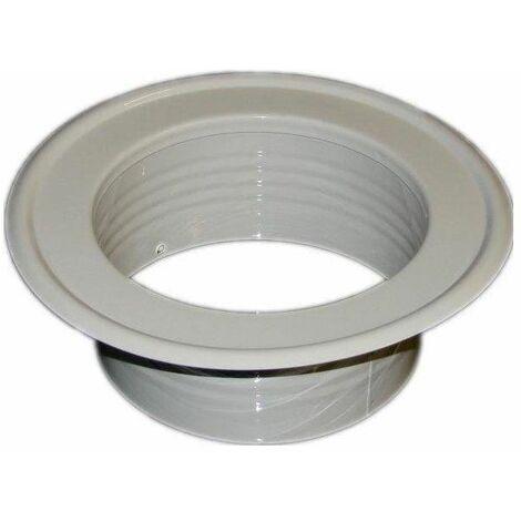 Metal Ventilation Ducting Pipe Wall Plate Spigot White 125mm Diameter