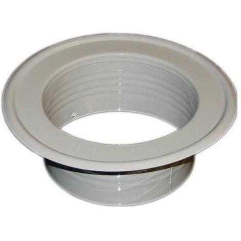 Metal Ventilation Ducting Pipe Wall Plate Spigot White 140mm Diameter