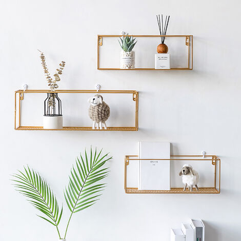 Metal Wall Shelf Floating Storage Display Rack Shelving
