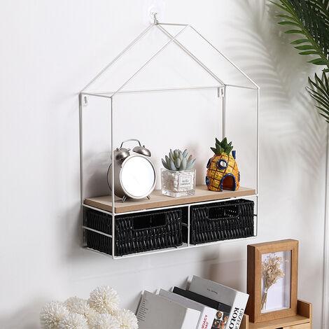 "main image of ""Metal Wall Shelf Unit Floating Shelves Home Office Wooden Display Storage Rack"""