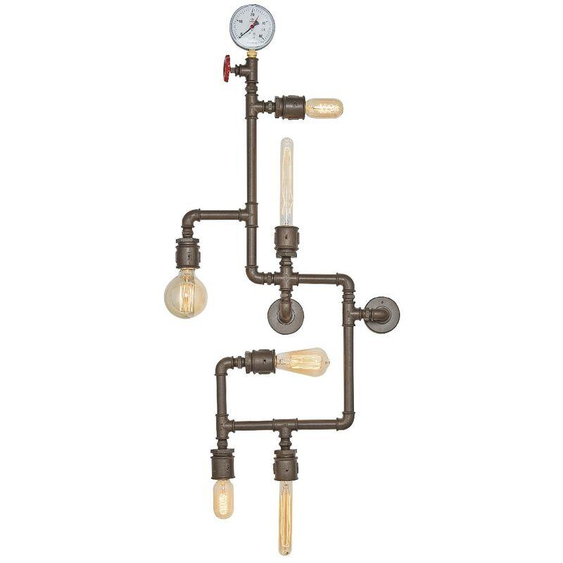Homemania - Metal Wandleuchte - Applique - Dunkelbraun aus Metall, 20 x 120 x 50 cm, 6 x E27, 40W