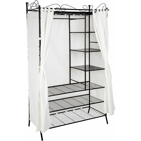 Metal wardrobe with curtains - canvas wardrobe, kids wardrobe, wardrobe closet - black - black