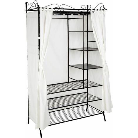 Metal wardrobe with curtains - canvas wardrobe, kids wardrobe, wardrobe closet - black - negro