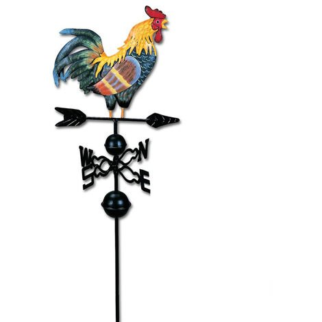 Metal Weathervane Rooster Shape Weather Vane Garden Fences Stake Yard Roofs Weathervane Decor Colorful Ornament