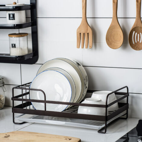 """main image of """"Metal Wire Dish Drainer Plates Storage Rack Utensil Drying Holder with Drip Tray"""""""