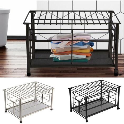 Metal Wire Storage Basket Bathroom Kitchen Bedroom Box Bin Sliding Drawer Case