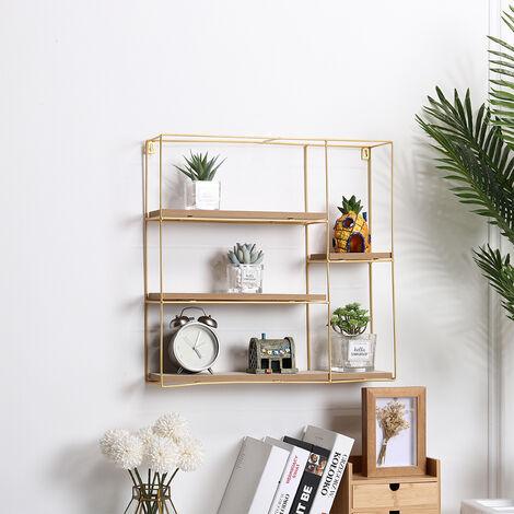 Metal Wire Wood Floating Wall Display Shelf Storage Rack Unit Home Decor