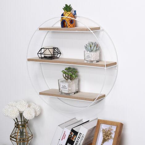 Metal Wire Wood Wall Floating Shelf Holder Display Storage Rack Unit