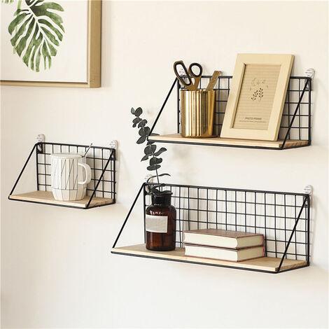 Metal Wood Industrial Wall Shelf Display Rack