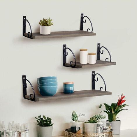 Metal Wood Shelves Wall Mounted Floating Shelf Rustic Storage Rack Display Unit, 25x15cm