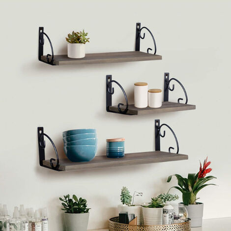Metal Wood Shelves Wall Mounted Floating Shelf Rustic Storage Rack Display Unit, 42x15cm