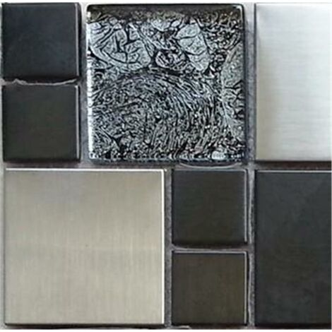 Metalic Random Mix Brushed Steel Black HongKong Glass Mosaic Tiles MT0002