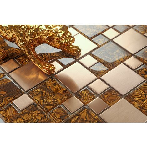 Metalic Random Mix Brushed Steel Gold Glass Mosaic Tiles MT0087
