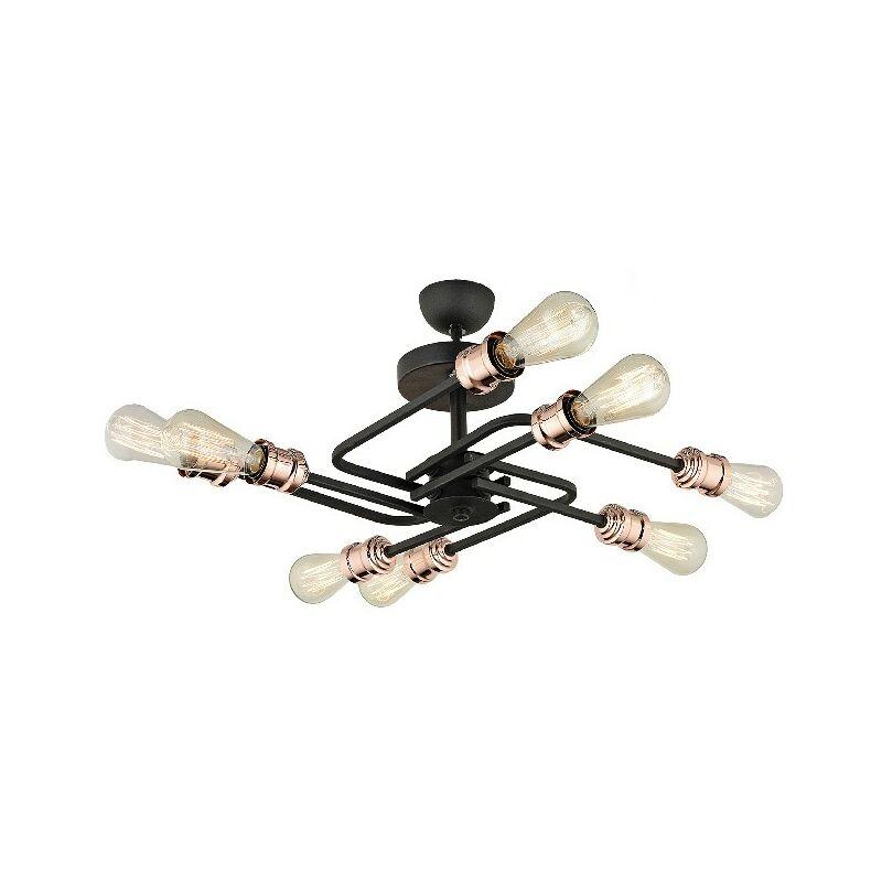 Metalica Deckenlampe - 8 Lichter Deckenleuchte - von Wand - Schwarz, Kupfer aus Metall, 100 x 3 x 60 cm, 8 x E27, 60W