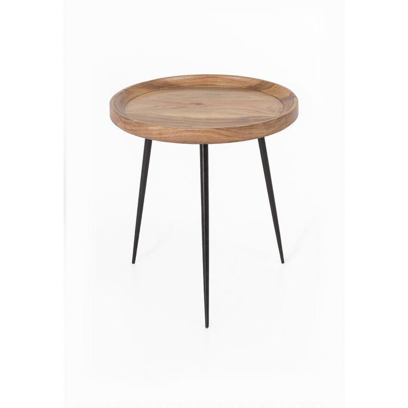 Metall Akazie Holz Beistelltisch Ø 46cm Couchtisch Wohnzimmer Sofa Tisch Möbel A00000337 - INDEX-LIVING