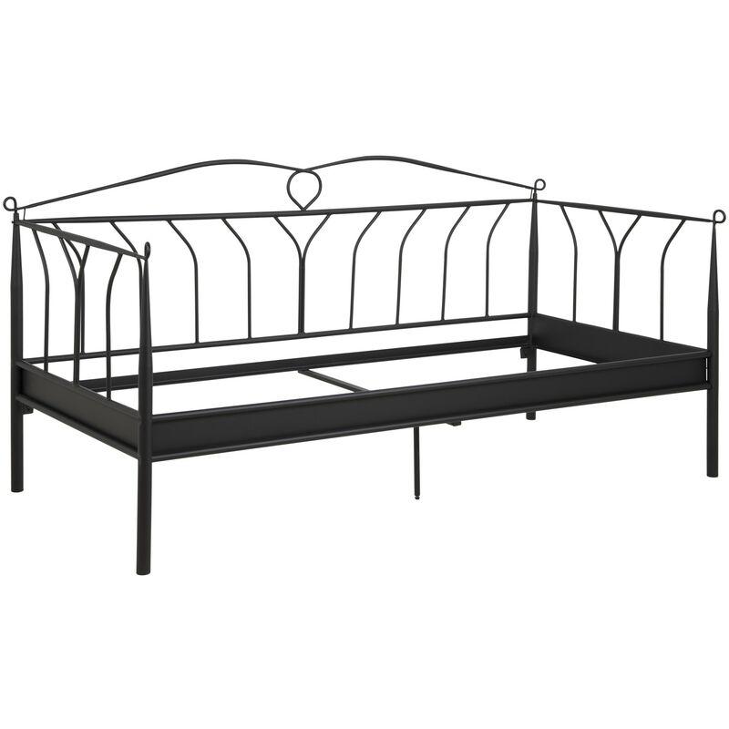 Metall Bett Linax 90x200 cm schwarz Einzelbett Gästebett Bettgestell Metallbett 11-0000088632 - PKLINE