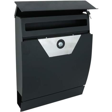 Metall Briefkasten Kynast schwarz mit Edelstahlverkleidung