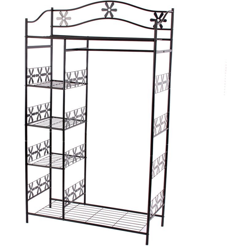 Metall-Garderobe Bern, Garderobenständer Kleiderschrank Metallregal 172x100x43cm ~ ohne Vorhang
