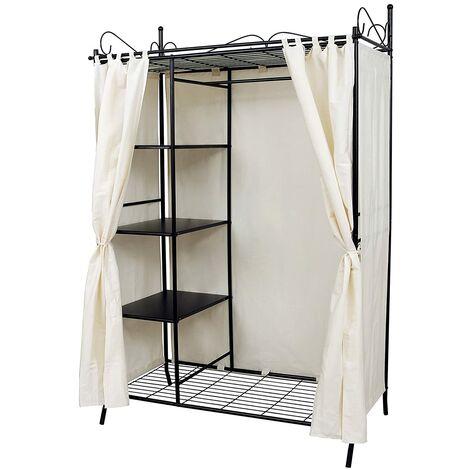 Metall Kleiderschrank Faltschrank Garderobenschrank Mit Vorhang 170