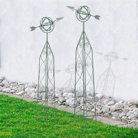 Metall Rankhilfen Windspiel antik grün 2er-Set Rankgitter Rankhilfe Obelisk Deko