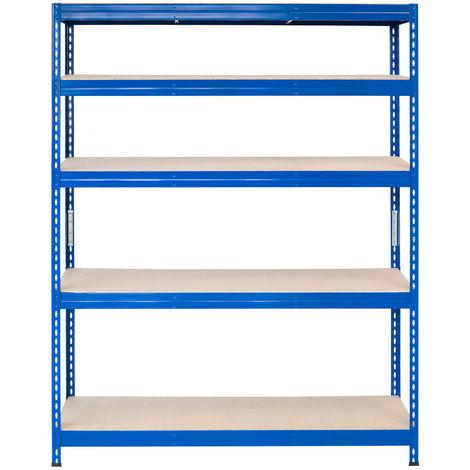 Metall-Schwerlast-Steckregal blau 180X120X30cm, 5 Böden, 250kg