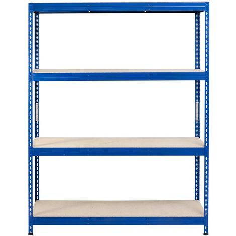 Metall-Schwerlast-Steckregal blau 180X150X45cm, 4 Böden, 250kg