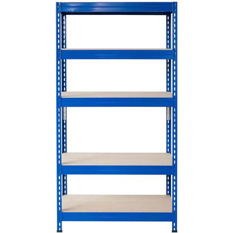 Metall-Schwerlast-Steckregal blau 180X90X60cm, 5 Böden, 200kg