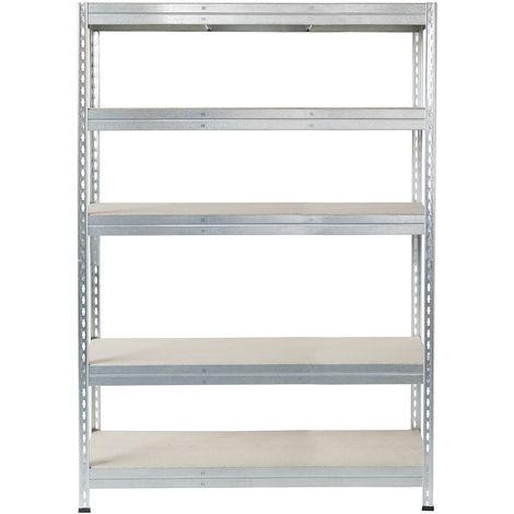 Metall-Schwerlast-Steckregal verzinkt 180X120X30cm, 5 Böden, 250kg