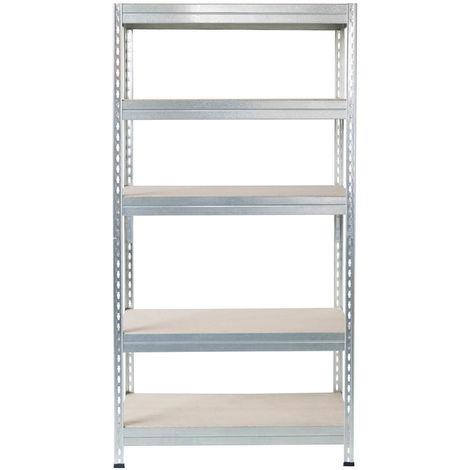 Metall-Schwerlast-Steckregal verzinkt 180X90X30cm, 5 Böden, 200kg