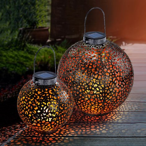 Metall Solar Kugel SANSIBAR 25 cm Rost Garten Deko Ornamente LED Solar Leuchte