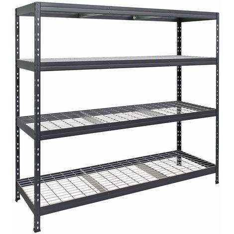 Metall-Steckregal RIVET mit Stahlgitterboden, 180x180x60cm, 4 Böden, 400kg, anthrazitgrau