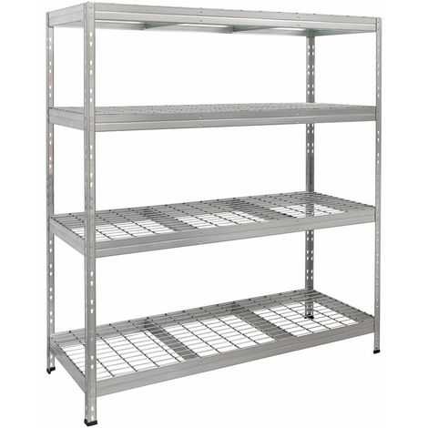 Metall-Steckregal RIVET mit Stahlgitterboden, 180x180x60cm, 4 Böden, 400kg, verzinkt