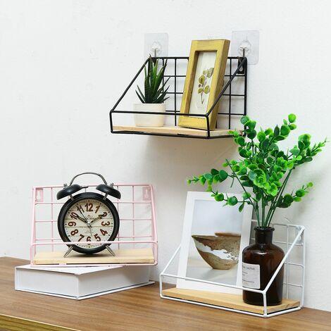 Metall Wandregal Eisen Holz Lagerregal montiert Displayhalter Home Decor-S Schwarz + Schwarz S Box Verpackung