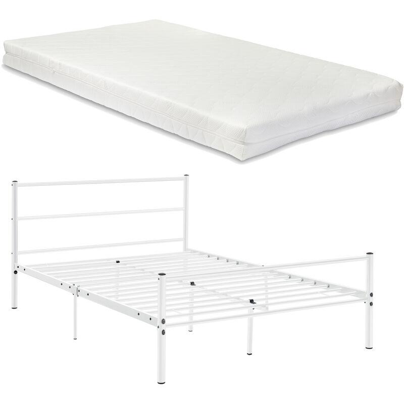 Metallbett 120x200cm Weiß mit Matratze Design Bett Schlafzimmer Metall - [EN.CASA]