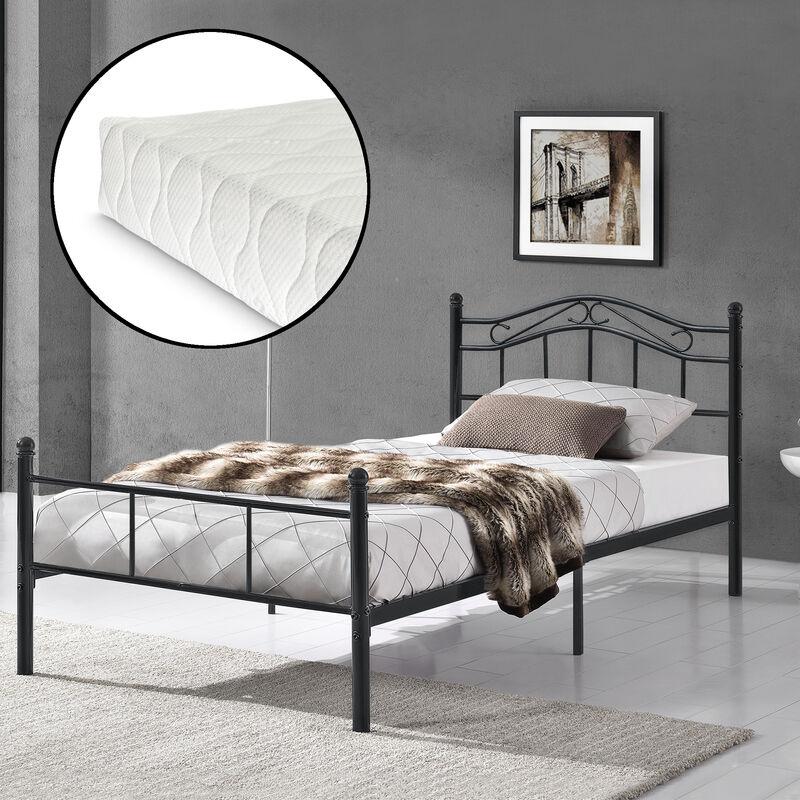 [en.casa] - Metallbett 120x200 schwarz mit Matratze Bett Jugendbett Metall Kopfteil