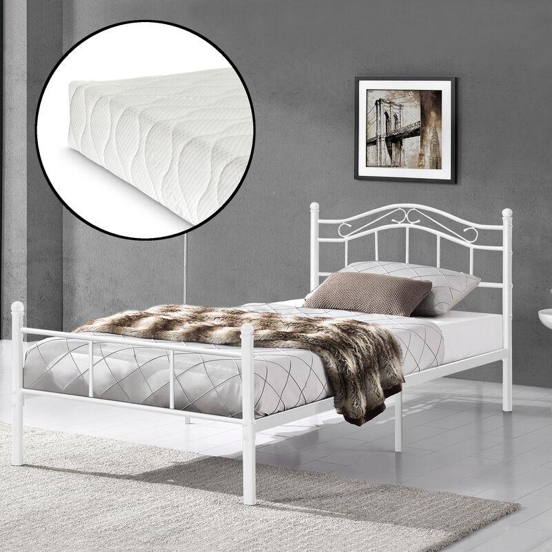 [en.casa] - Metallbett 120x200 weiß mit Matratze Bettgestell Bett Jugendbett Metall